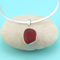Cherry Red Sea Glass Pendant Bezel Set in Sterling Silver with Sterling Necklace. One of a Kind. Rare. Genuine Sea Glass. Ready for Fast, Free Shipping