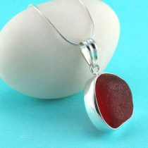 Red Bezel Set Sea Glass Pendant/Necklace