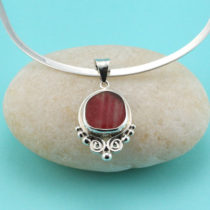 Red and White Multi Bezel Set in Sterling Silver