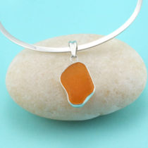 Orange Sea Glass Pendant Bezel Set in Sterling Silver with Sterling Necklace. Ultra rare. One of a Kind. Genuine Sea Glass. Ready for Fast, free shipping.