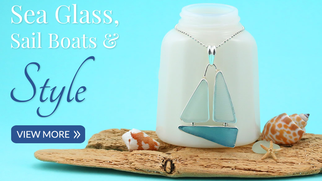Sea Glass Jewelry Sailboat Necklaces