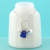 Cobalt Blue Sea Glass Necklace Shell Charm