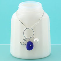 Cobalt Blue Sea Glass Necklace Anchor Charm. Sterling Silver Necklace. Ready for Fast, Free Shipping.