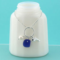 Cobalt Blue Sea Glass Necklace Dolphin Charm