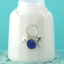 Cobalt Blue Sea Glass Necklace Dolphin Charm. Genuine Sea Glass. Sterling Silver. One Of A Kind. Ready for Fast, Free Shipping.