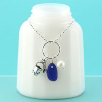 Cobalt Blue Sea Glass Necklace with Charm. Sterling Silver Necklace. Ready for Fast, Free Shipping.