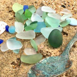 Sea Glass and Rusted Spoon - A Day at the Beach Fine sea glass jewelry, www.seaglassjewelrybyjane.com