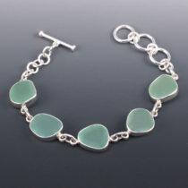 Sea Glass Bracelet Bezel Set in Sterling Silver. Genuine Sea Glass. Sea Foam Green. Ready For Fast, Free Shipping.