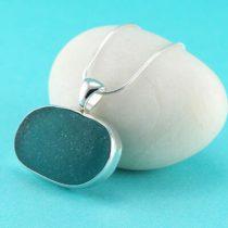 Teal Sea Glass Necklace Bezel Set