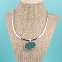 Teal Sea Glass Necklace Bezel Set. Sterling Silver. One of a Kind. Rare. Genuine Sea Glass. Ready for Fast, Free Shipping.