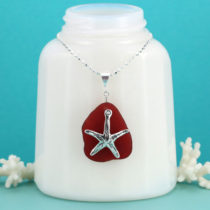 Red Sea Glass Pendant with Charm. Genuine Sea Glass. Rare Red Specimen. With Sterling Necklace. Ready For Fast, Free Shipping.