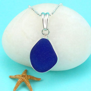 Rich Cobalt Blue Sea Glass Pendant Bezel Set. Sterling Silver. Genuine Sea Glass. Ready for Fast, Free Shipping.