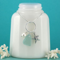 Aqua Sea Glass Necklace with Pearl and Charm. Genuine Sea Glass, Sterling Silver. Ready for Fast, Free Shipping.