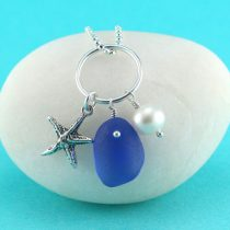 Cobalt Blue Sea Glass Necklace with Pearl and Charm