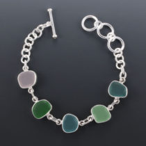 Sea Glass Bracelet Bezel Set. Sterling Silver. Genuine Sea Glass. One of a Kind. Ready for Fast, Free Shipping.
