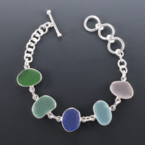 Stunning Sea Glass Bracelet Bezel Set. Sterling Silver. Genuine Sea Glass. One of a Kind. Ready for Fast, Free Shipping..