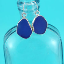 Cobalt Blue Sea Glass Earrings Bezel Set. Sterling Silver. One of a Kind. Large Size. Genuine Sea Glass. Ready for Fast, Free Shipping.
