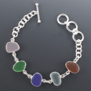 Classic Sea Glass Bracelet Bezel Set Sterling Silver. Genuine Sea Glass. Ready for Fast, Free Shipping.