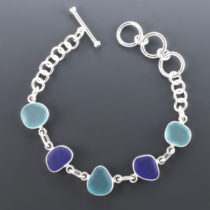 Sea Glass Bracelet Bezel Set. Sterling Silver. One Of A Kind. Genuine Sea Glass. Ready for Fast, Free Shipping.