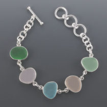 Colorful Sea Glass Bracelet Bezel Set. Sterling Silver. Genuine Sea Glass. One of a Kind. Ready for Fast, Free Shipping.