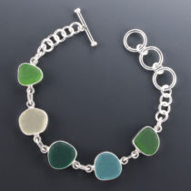 Sea Glass Bracelet Bezel Set. Sterling Silver. Genuine Sea Glass. Sterling Silver. Ready for Fast. Free Shipping. One of a Kind.
