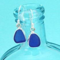 Deep Cobalt Sea Glass Earrings Bezel Set. Sterling Silver. Ready for Fast, Free Shipping.