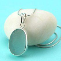 Alluring Aqua Sea Glass Necklace Bezel Set