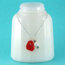 Red Mermaid's Tear Sea Glass Necklace. Genuine Sea Glass. Sterling Silver. One of a Kind. Ready for Fast, Free Shipping.