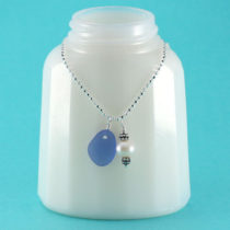 Cornflower Blue Mermaid's Tear Sea Glass Necklace. Genuine Sea Glass. Sterling Silver. Freshwater Pearl. Ready for Fast, Free Shipping Today!