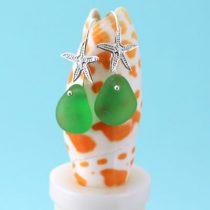 Green Sea Glass Starfish Earrings