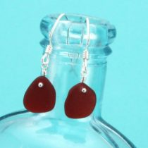 Royal Red Sea Glass Earrings. Genuine Sea Glass. Sterling Silver. Ready for Fast, Free Shipping.