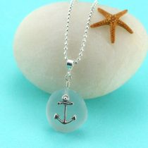 Gray Sea Glass Necklace Anchor Charm