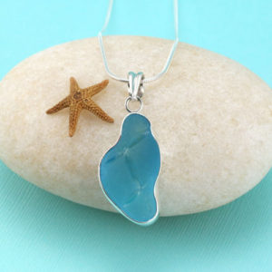 Rare Turquoise Sea Glass Pendant Bezel Set. Sterling Silver. Ultra Rare Specimen. Genuine. One of a Kind. Ready for Fast, Free Shipping.