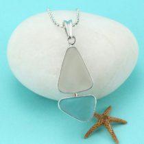 Aqua Sea Glass Sailboat Pendant. Sterling Silver. Genuine Sea Glass. Ready for Fast, Free Shipping.