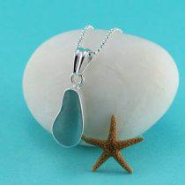 Aqua Sea Glass Bezel Set Pendant & Necklace