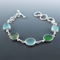 Watercolors Sea Glass Bracelet. Genuine Sea Glass. Sterling Silver.
