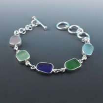 Bezel Set Sea Glass Bracelet With Cobalt Blue. Genuine Sea Glass. Sterling Silver. Ready For Fast, free Shipping.