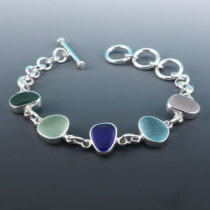 Multi Colored Sea Glass Necklace Bezel Set. Genuine Sea Glass. Sterling Silver. Ready For Fast, Free Shipping.