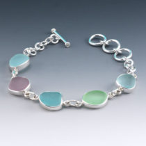 Pretty Pastel Color Sea Glass Bracelet. Genuine Sea Glass, Sterling Silver. Ready for Fast, Free Shipping.