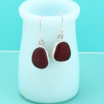 Deep Red Sea Glass Earrings Bezel Set. Sterling Silver. Genuine Sea Glass. Ready for Gifting. Fast, Free Shipping.