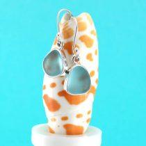 Deep Aqua Sea Glass Earrings Bezel Set