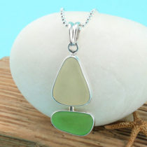 Green and Yellow Sea Glass Sailboat Bezel Set. Sterling Silver. Genuine Sea Glass. Ready for Fast, Free Shipping.