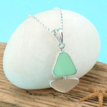 Pink and Jadeite Sea Glass Bezel Set Pendant. Genuine Sea Glass. Sterling Silver. Ready for Fast, Free Shipping.