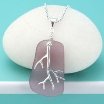 Luscious Lavender Sea Glass Pendant with Coral Branch Charm. Genuine Sea Glass. Sterling Silver. Ready for Gifting. Free Gift Wrap and Fast, Free Shipping.