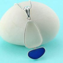 Cobalt Blue and White Sea Glass Sailboat Pendant