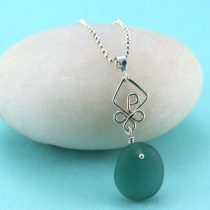 Perfect Teal Sea Glass Pendant