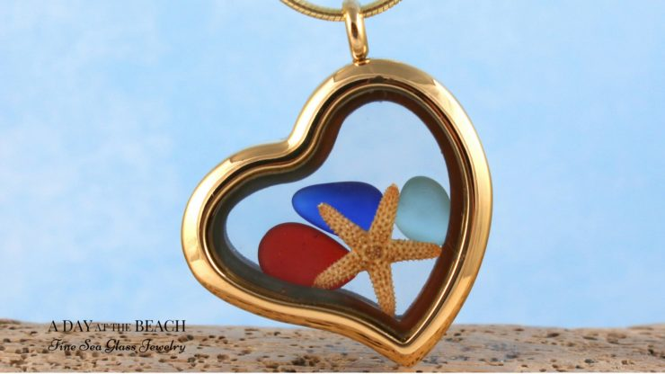 Red Sea Glass Starfish Locket for Valentines Day