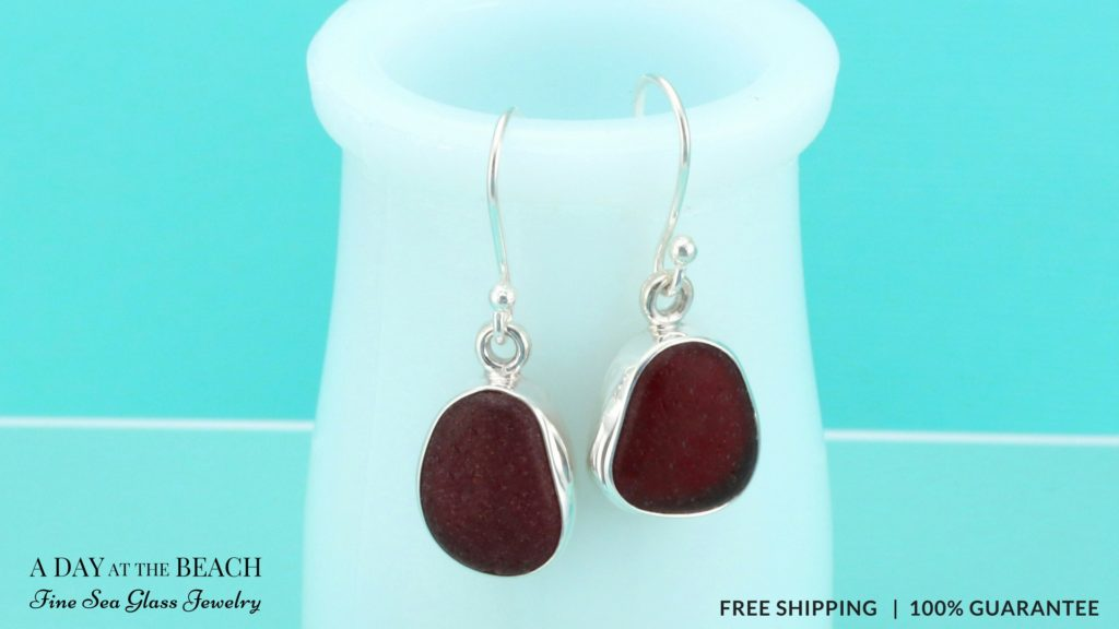 Garnet Red Sea Glass Earrings