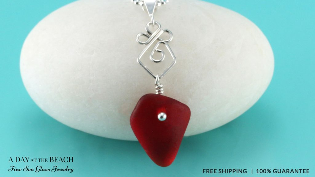 Garnet Red Sea Glass Necklace