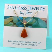Amber Sea Glass Pendant with Gold